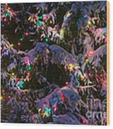 Snow On The Christmas Tree Wood Print