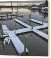 Snow On The Docks Wood Print