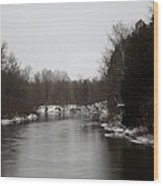 Snow On The Manistee River Wood Print