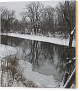Snow On The River Wood Print