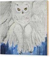 Snow Owl In Flight Wood Print