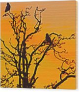 Snow Owl Silhouette Wood Print