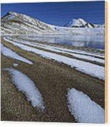 Snow Patterns Near Blue Lake Mt Wood Print