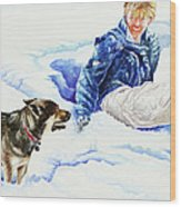 Snow Play Sadie And Andrew Wood Print by Carolyn Coffey Wallace
