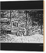 Snow Plow In Black And White Wood Print