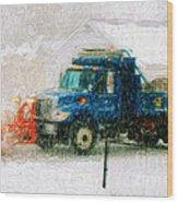 Snow Plow Painterly Wood Print