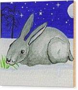 Snow Rabbit Wood Print