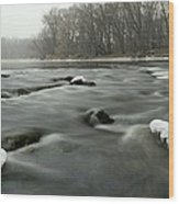 Snow Rapids Wood Print