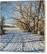 Snow Road Wood Print by Baywest Imaging