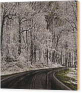 Snow Road Wood Print