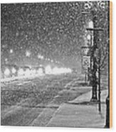 Snow Rush In Black And White Wood Print