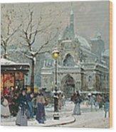 Snow Scene In Paris Wood Print by Eugene Galien-Laloue