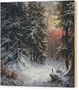 Snow Scene In The Black Forest Wood Print