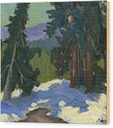 Snow Shadows Mammoth Mountain Wood Print