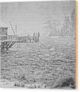 Snow Storm In Bass Harbor On Mount Desert Island Maine Wood Print