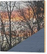 Snow Sunset Wood Print