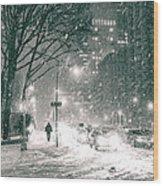 Snow Swirls At Night In New York City Wood Print by Vivienne Gucwa