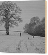 Snow Walkers Wood Print