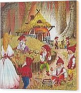 Snow White And The Seven Dwarfs Wood Print