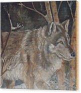 Snow Wolf Wood Print