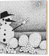 Snowball Fight Wood Print
