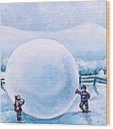 Snowball Fight Wood Print