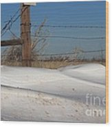 Snowbank On A Country Road Wood Print by Robert D  Brozek