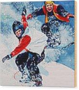 Snowboard Psyched Wood Print by Hanne Lore Koehler
