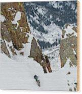 Snowboarder Doing A Slash Wood Print