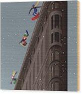 Snowboarders Fly Off The Flatiron Halfpipe Wood Print