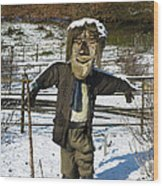 Snowcapped Scarecrow Wood Print
