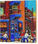 Snowday Hockey Practice Wilenskys Corner Fairmount And Clark Montreal City Scene Carole Spandau Wood Print