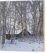 Snowed Cabin Wood Print