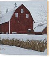 Snowed In Barn Wood Print
