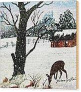 Snowfall And Visiting Doe Wood Print