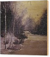 Snowfall At Dusk Wood Print