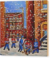 Snowfall Hockey Game Winter City Scene Wood Print by Carole Spandau