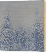Snowfall in Blue Wood Print