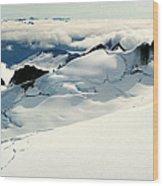 Snowfield Below Wood Print