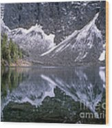Snowfield Reflection On Blue Lake  Wood Print