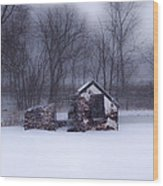 Snowing At Narcissa Road Springhouse Wood Print