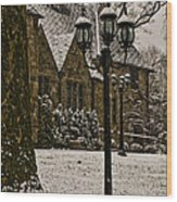 Snowing At Stokesay Castle Wood Print