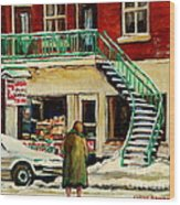 Snowing At The Five And Dime Wood Print