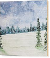 Snowing In Christmas Wood Print