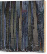 Snowing In The Ice Forest At Night Wood Print