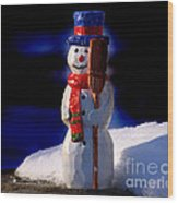 Snowman By George Wood Wood Print