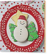 Snowman Cookie Plate Wood Print