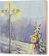 Snowman Enyoying The Light Wood Print