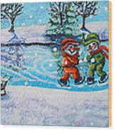 Snowman Friends Ice Skating  P2 Wood Print