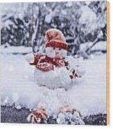 Snowman Wood Print by Joana Kruse